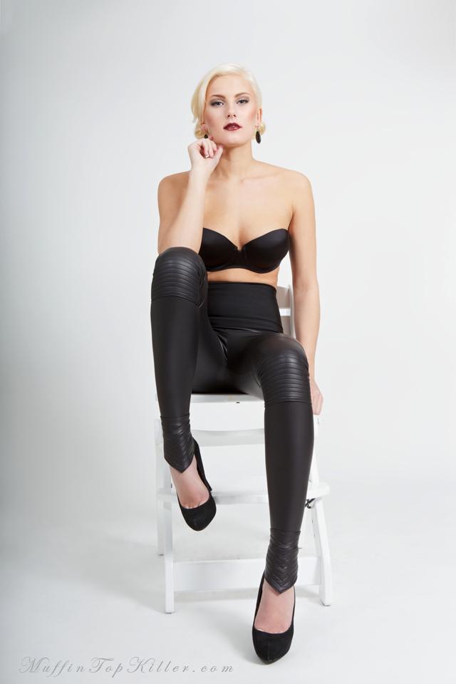 20.Black Leather Spandex with Biker style twist-c