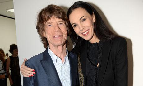 L'Wren Scott Mick Jagger at Spring Summer 2014 London Fashion Week