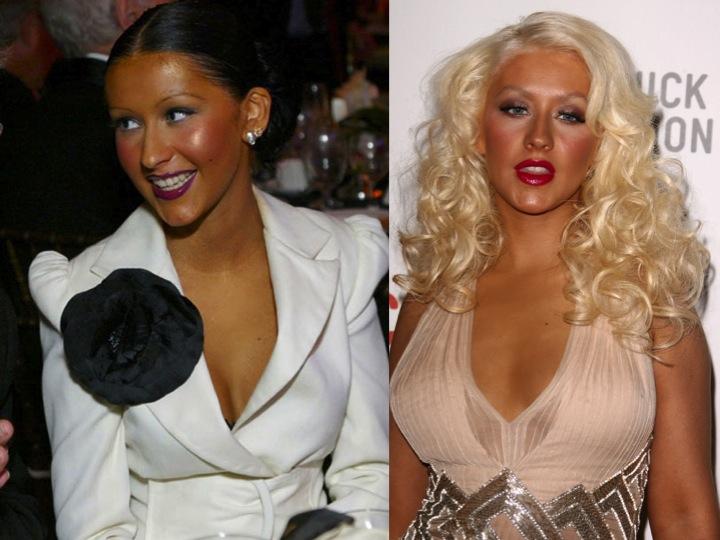 """Aguilera elska """"spray tan"""", jafnvel meira en ég. Kannski aðeins of mikið af því góða á mynd til vinstri."""